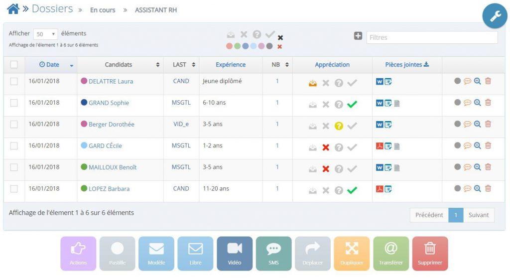 logiciel gestion de candidatures cv